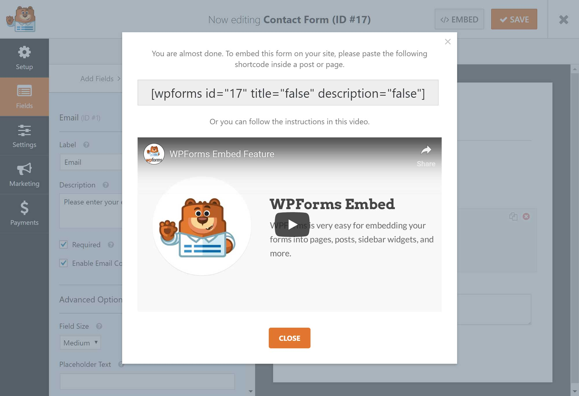 WPForms kart kodu