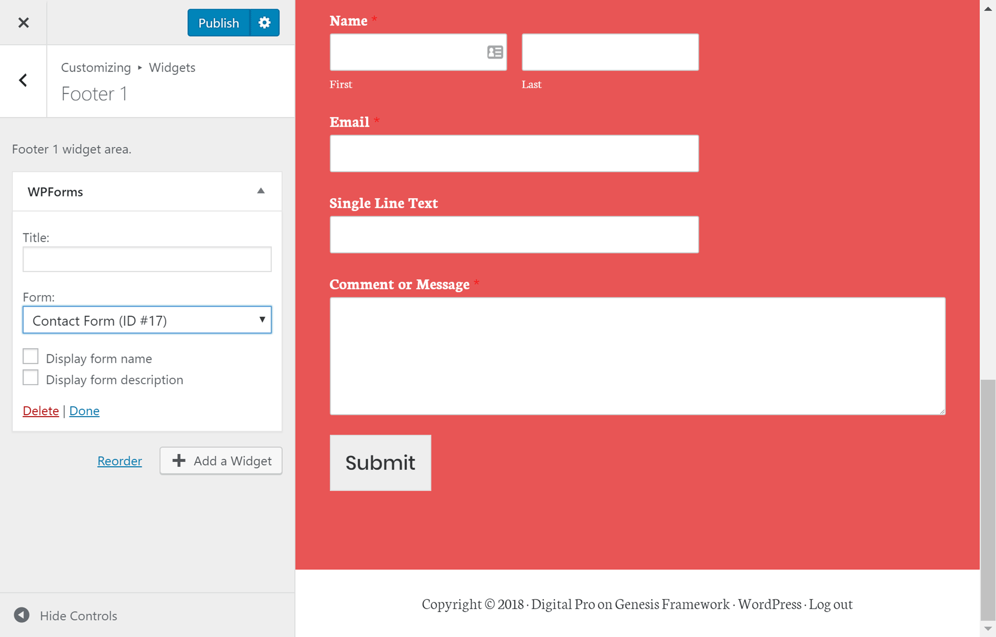 WPForms widgetından istifadə edin