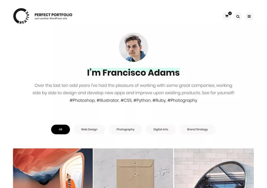 Perfect Clean Phong cách wordpress miễn phí chủ đề đáp ứng wp sáng tạo cơ quan thiết kế danh mục đầu tư máy ảnh
