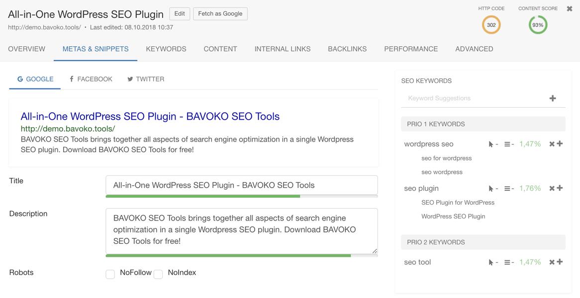 bavoko wordpress seo optimización de contenido fragmento social