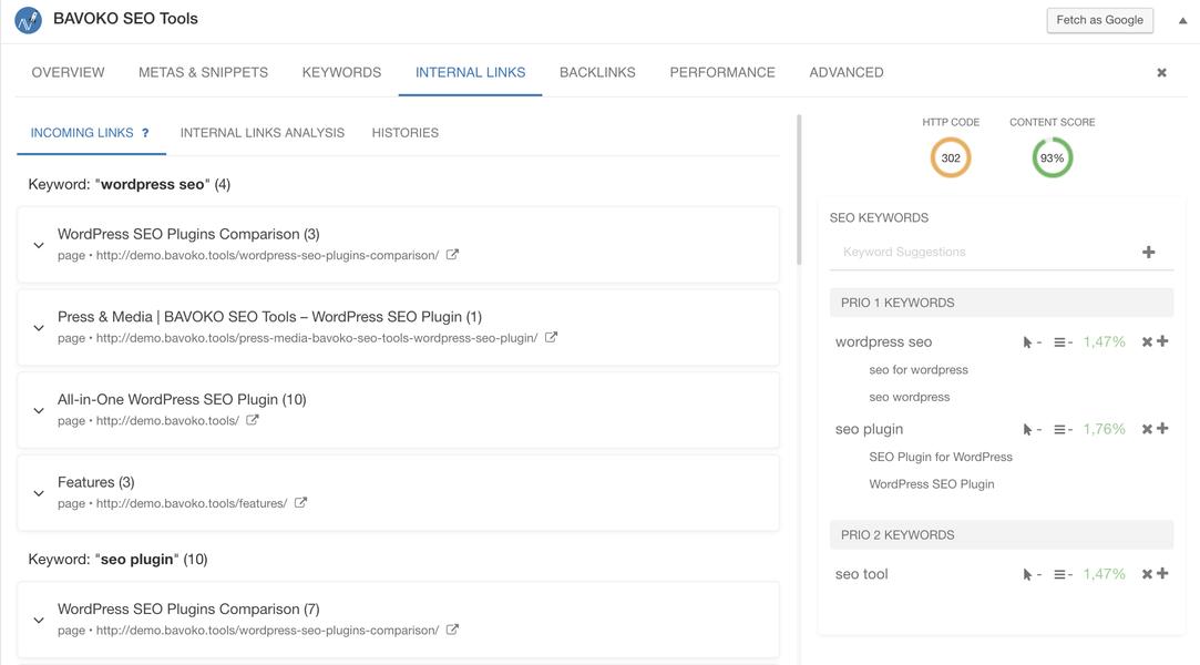 bavoko wordpress SEO sisällön optimointi sisäiset linkit (pro)