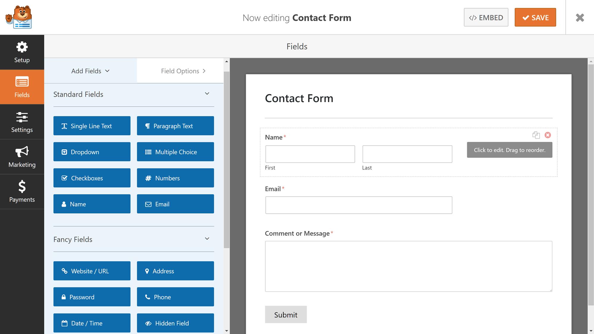 WPForms form redaktoru