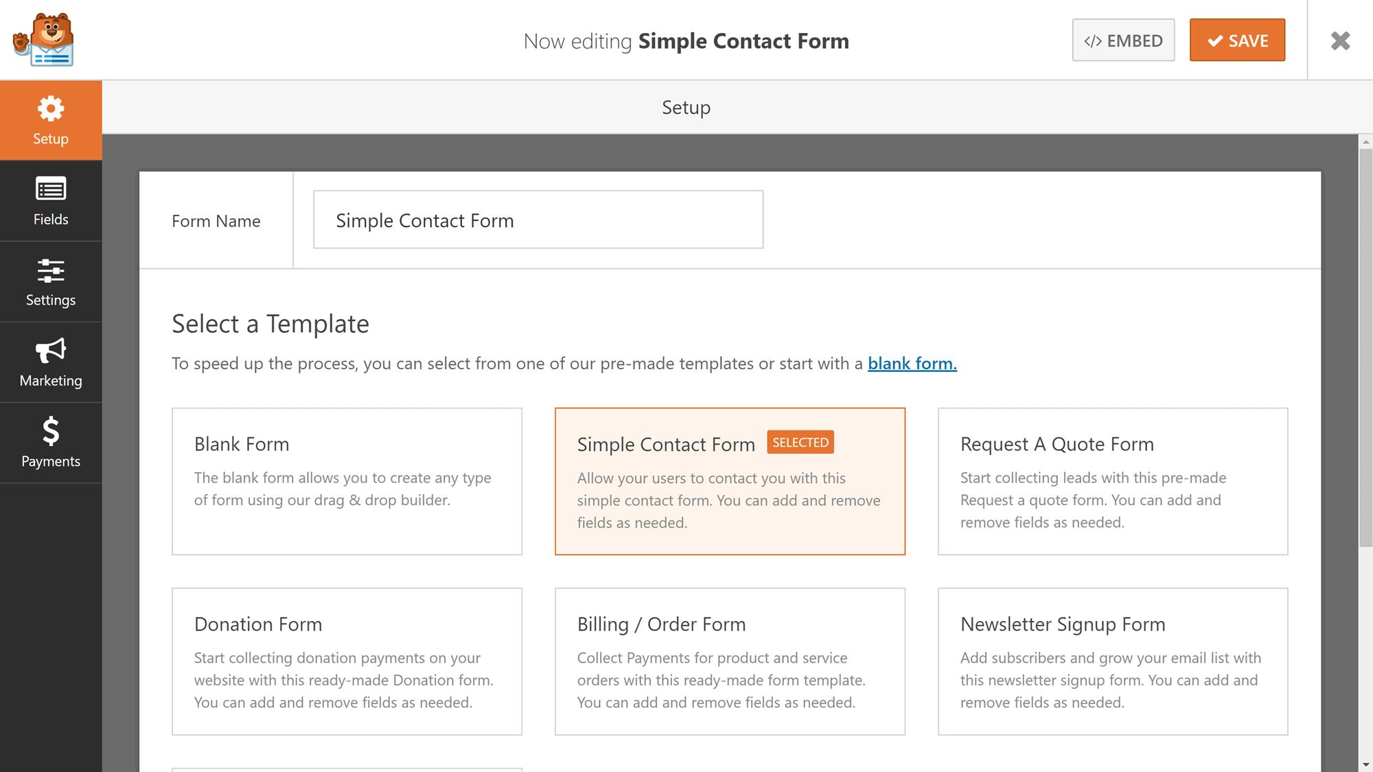 WPForms istifadəçi interfeysi