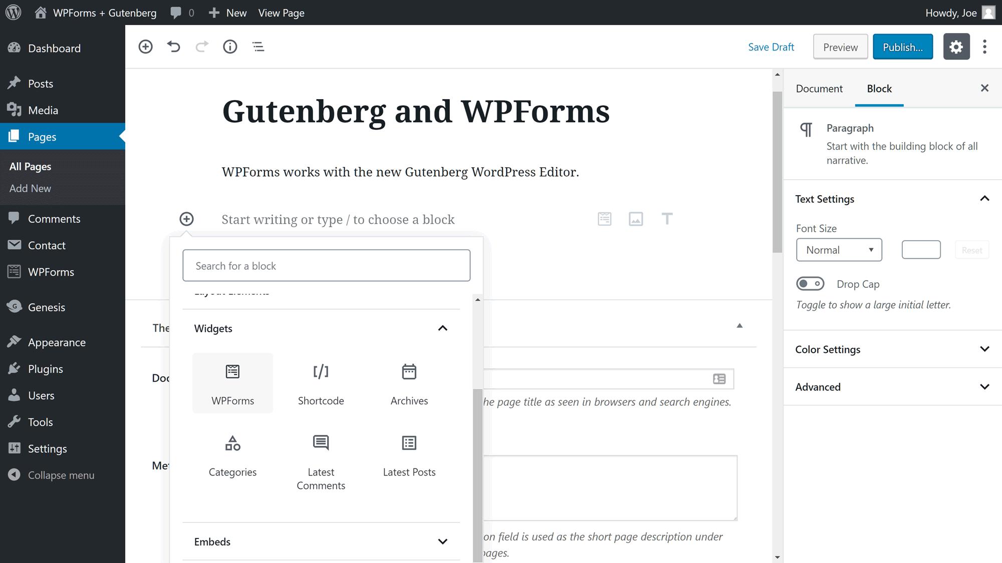 Gutenberg ilə WPForms istifadə