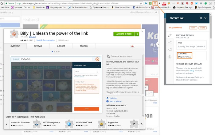 Trang mở rộng Google Chrome Bitly