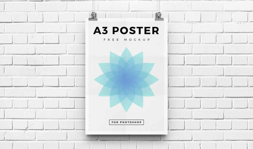 Miễn phí chỉnh sửa photoshop poster mockup mẫu flyer A3 psd