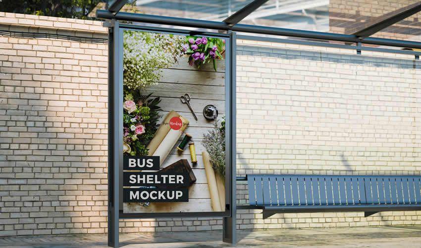 Miễn phí xe buýt ngoài trời Shelter psd photoshop poster mockup mẫu có thể chỉnh sửa