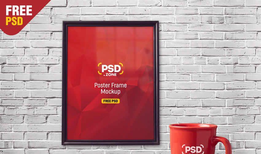 Mug psd photoshop khung poster mockup mẫu có thể chỉnh sửa