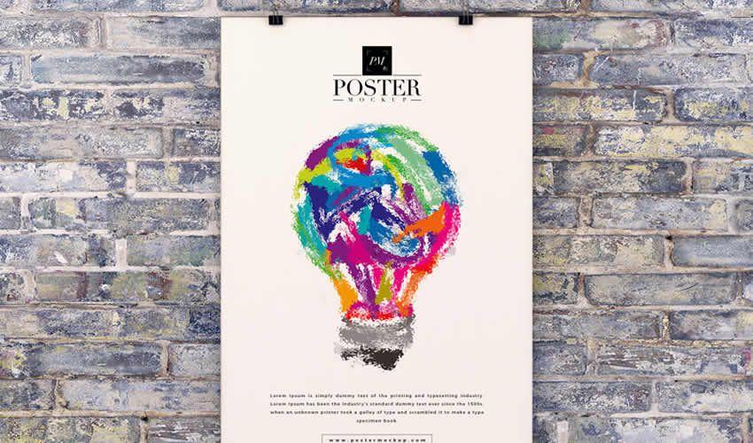 Brick Wall psd photoshop poster miễn phí mockup mẫu có thể chỉnh sửa brochure