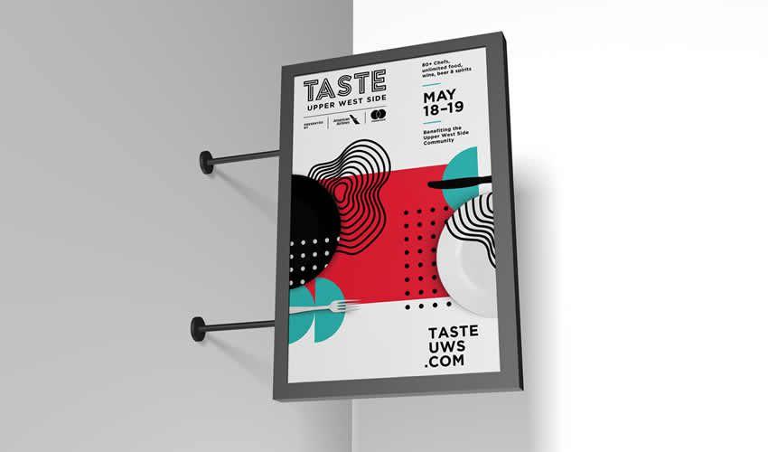 Premium Branding Wall Signboard poster mockup mẫu tờ rơi có thể chỉnh sửa miễn phí