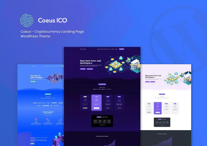 Vstupná stránka firmy Coeus Cryptocurrency wordpress