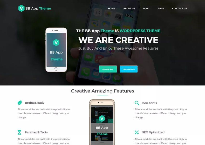 BB mobilné aplikácie zadarmo WordPress tému wp responzívne vstupné stránky podnikania