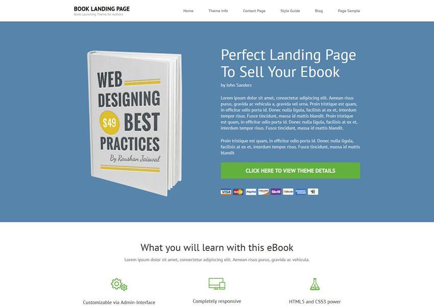 bezplatná kniha wordpress tému wp responzívne vstupná stránka podnikania