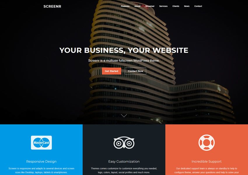 Screenr One-Page Parallax free wordpress theme wp responzívna vstupná stránka podnikania