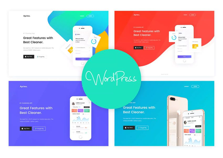 Aprimo Mobile App wordpress tému podnikania vstupná stránka