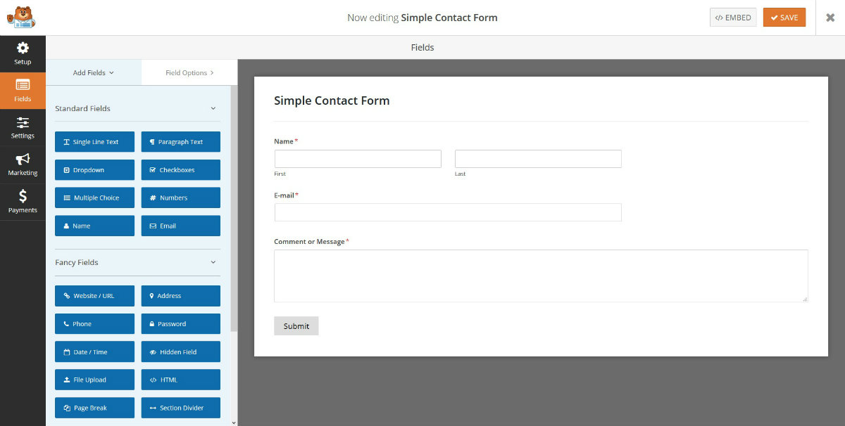 Formulario de contacto simple de WPForms