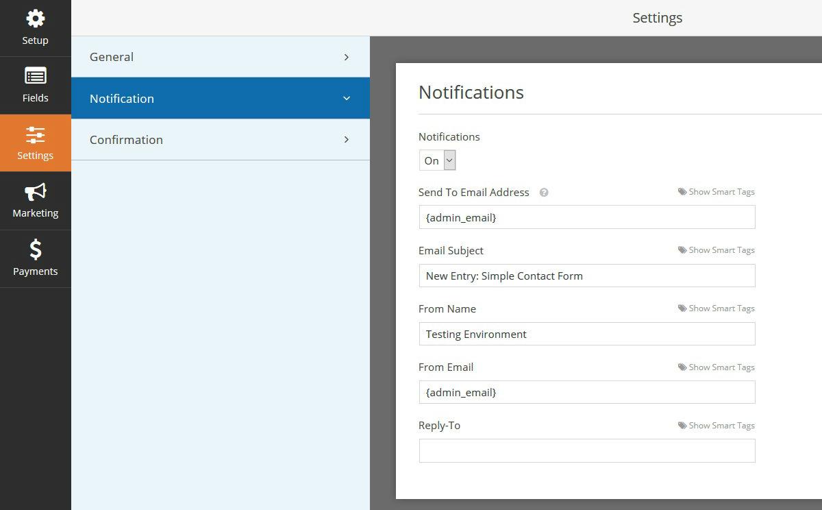 Configuración de formulario de WPForms