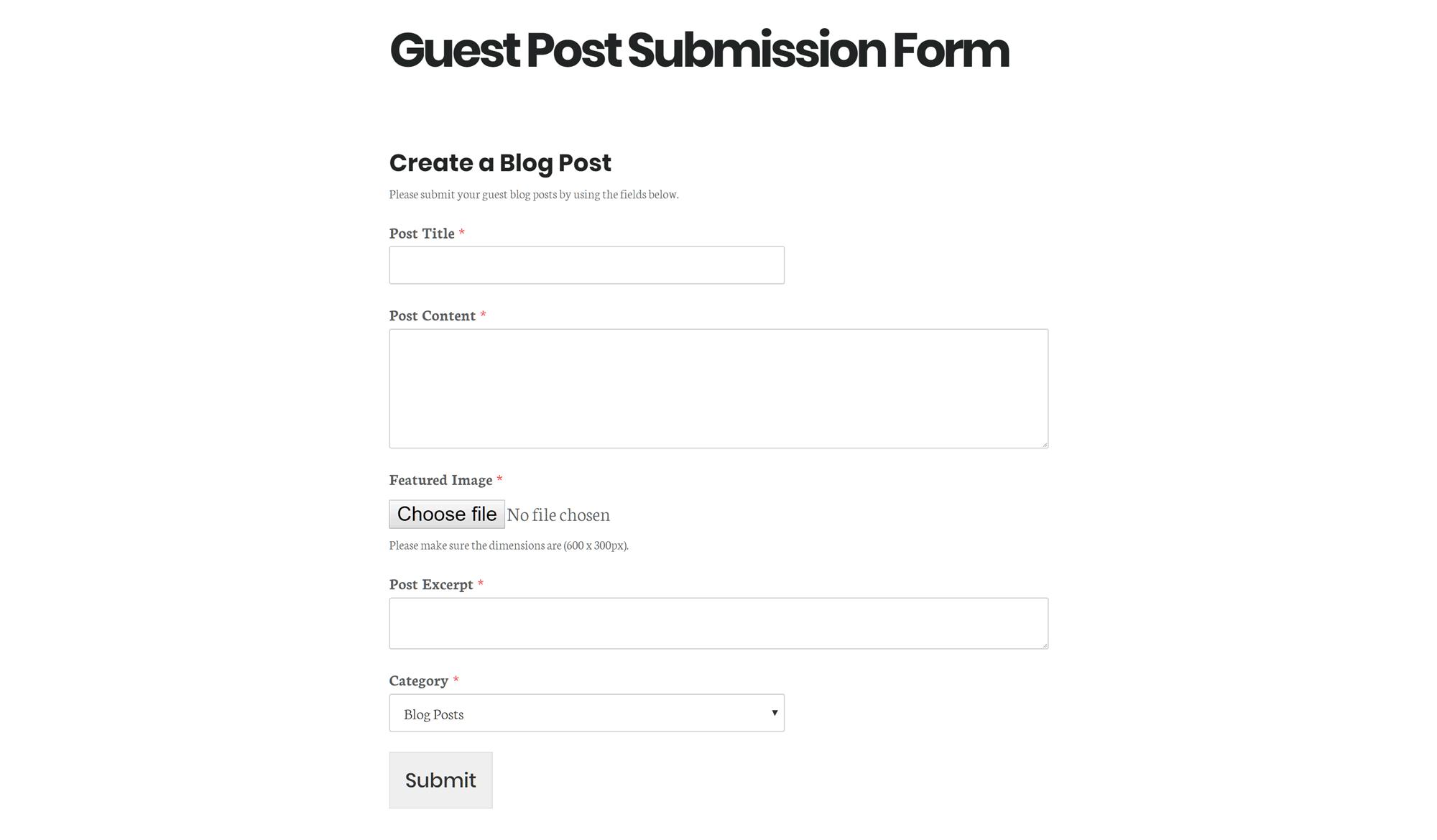 Ejemplo de un formulario de envío posterior