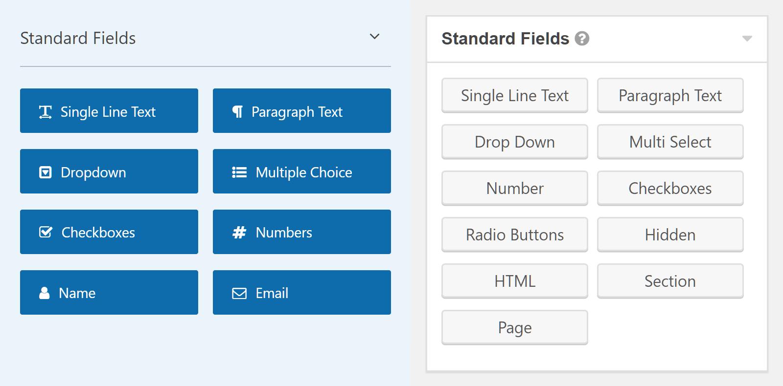 Comparación de campos de WPForms vs Gravity Forms