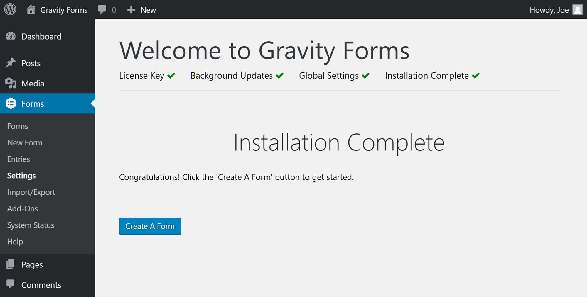 Pantalla de bienvenida de Gravity Forms