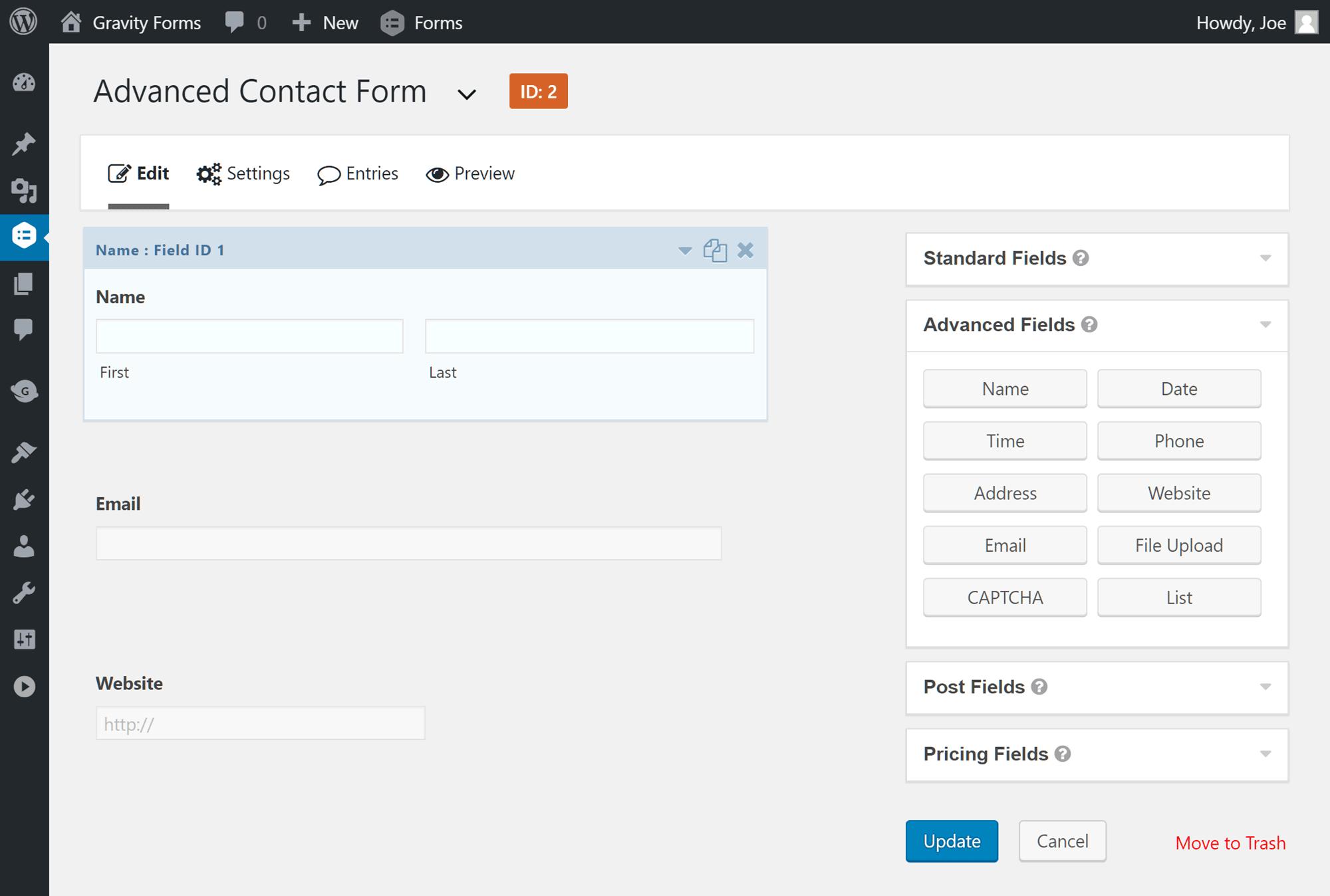 Agregar campos al formulario