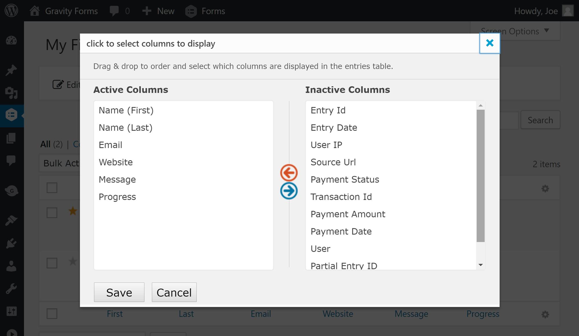Opciones de exportación de columna
