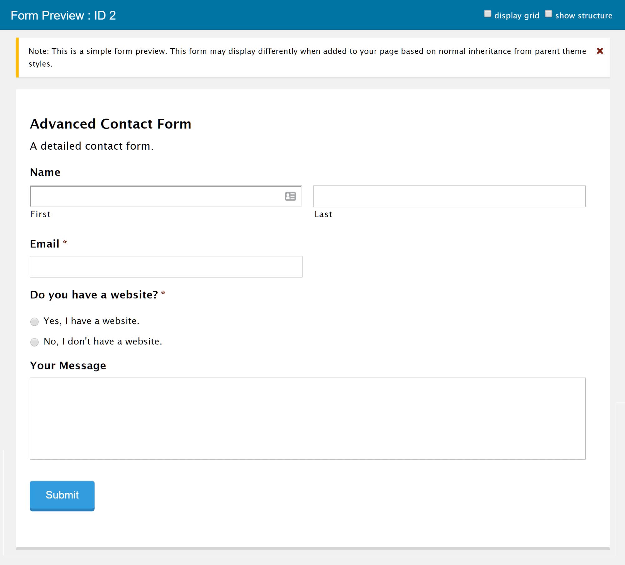 Vista previa de un formulario en formularios de gravedad