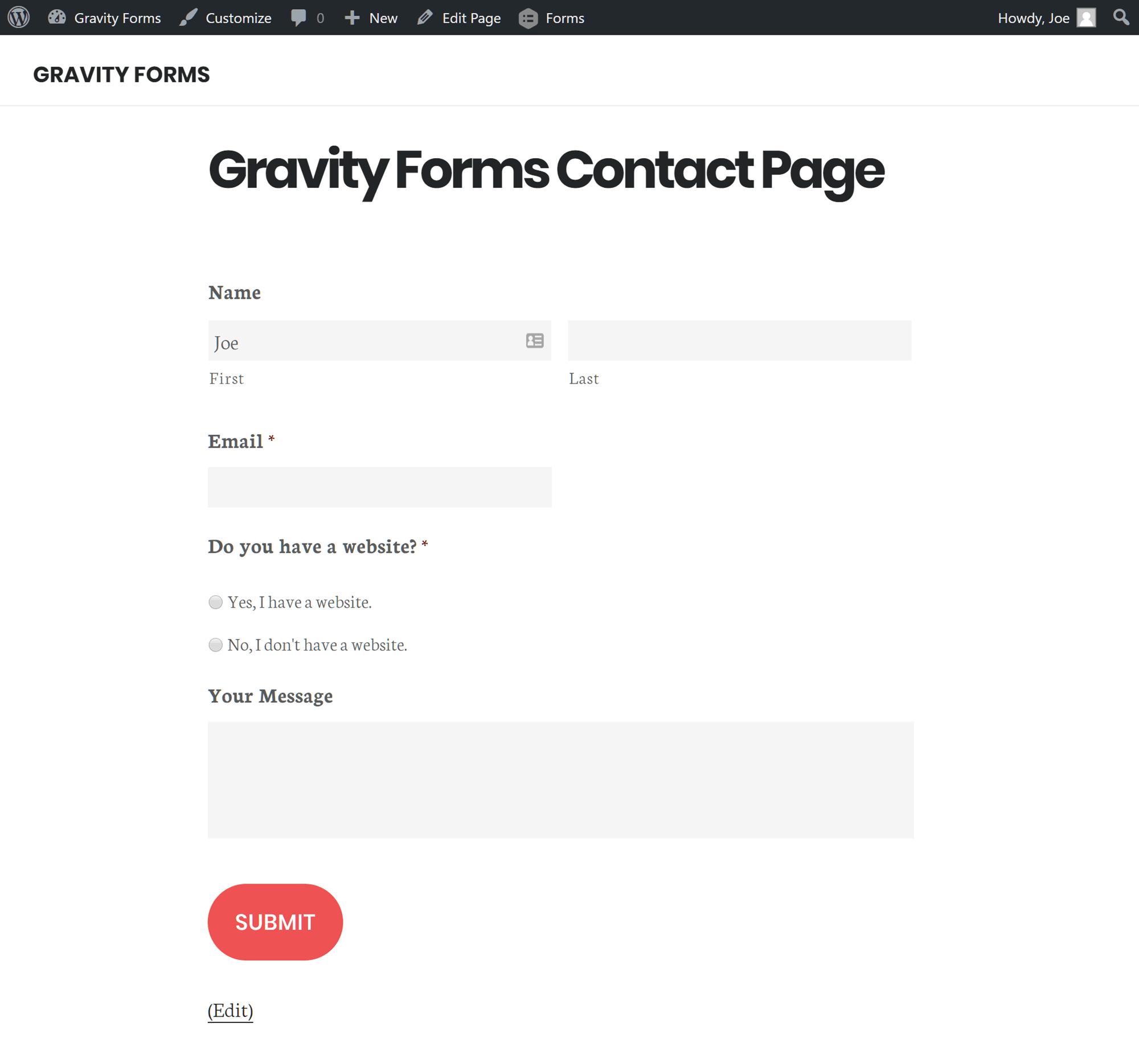 Vista previa real de un formulario de gravedad