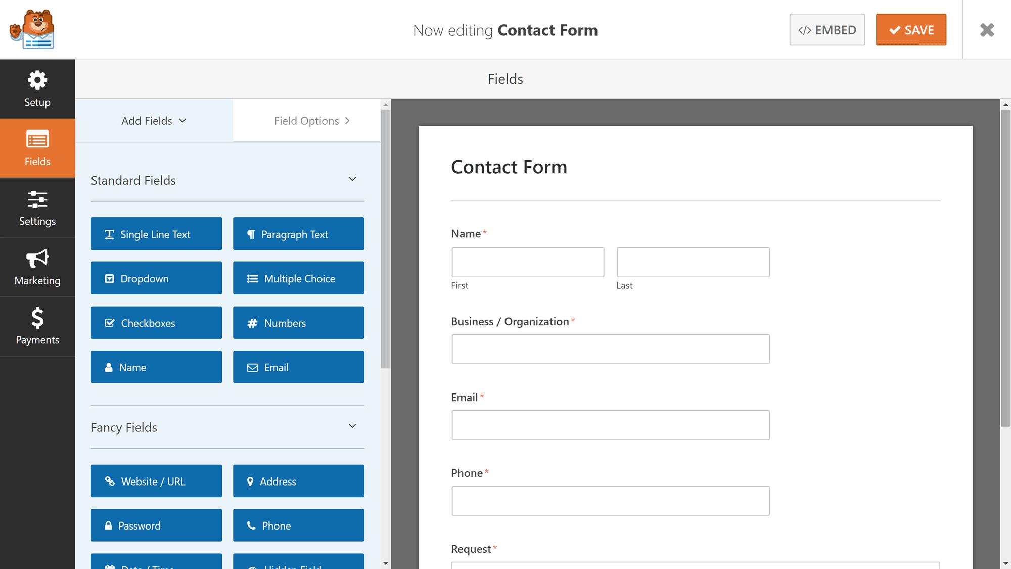 Creador de formularios WPForms