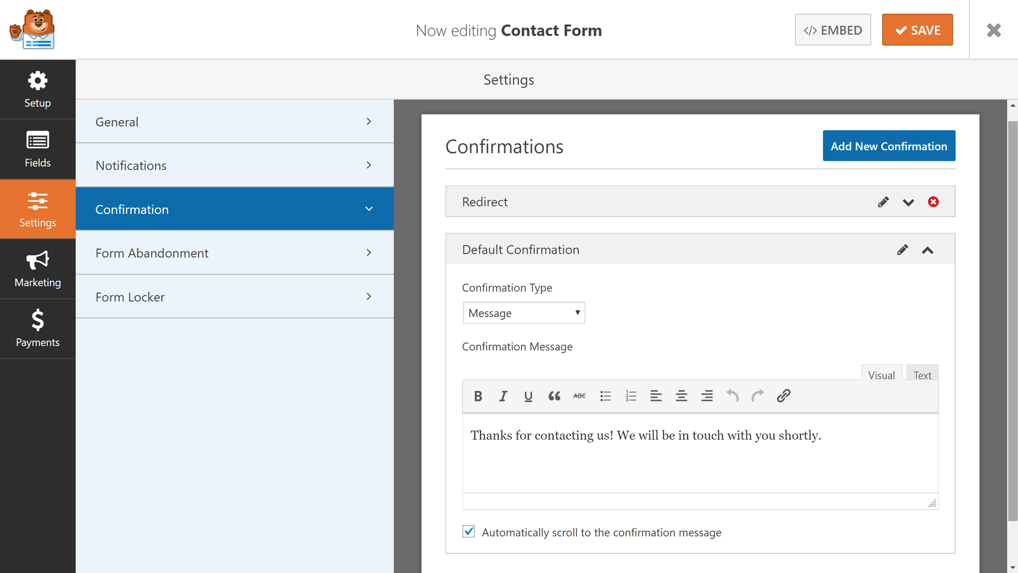Opciones de confirmación de WPForms