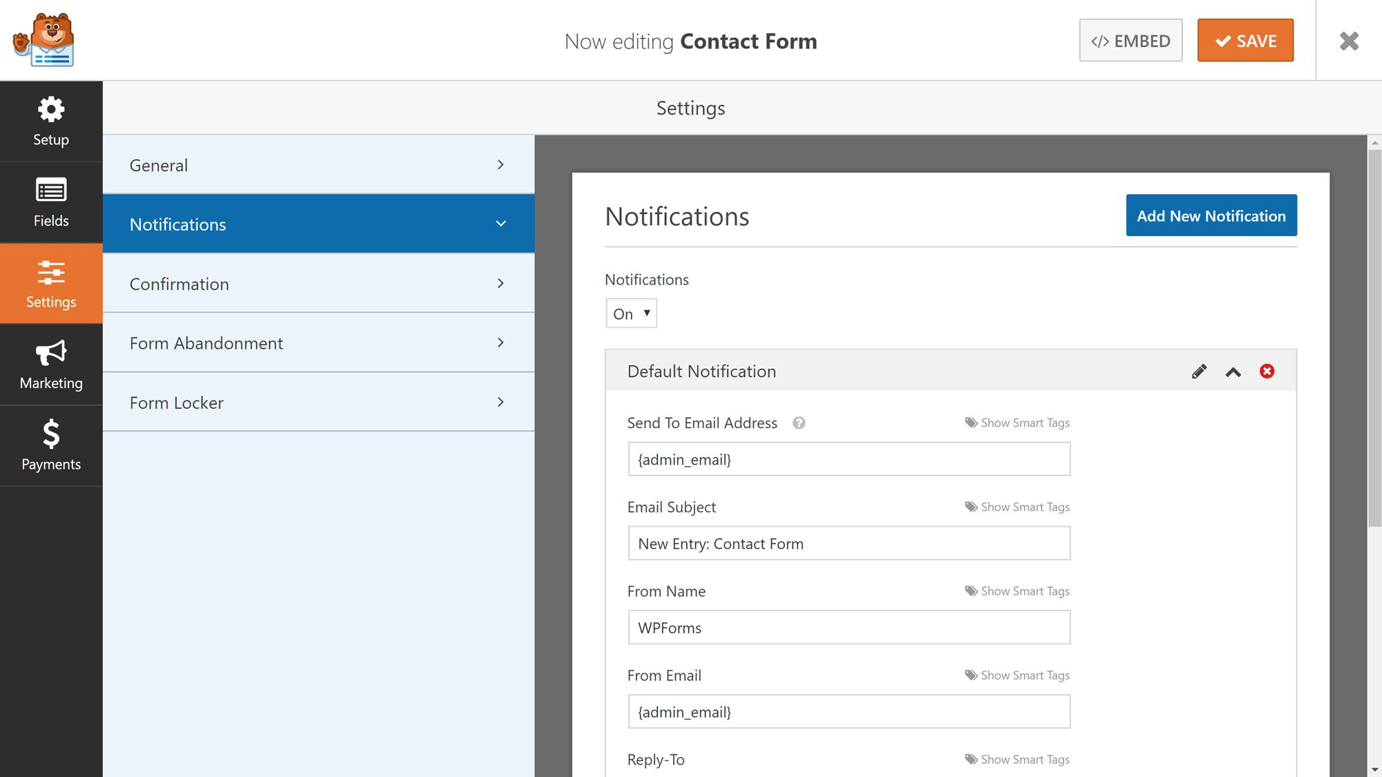 Configuración de notificación de entrada de formulario