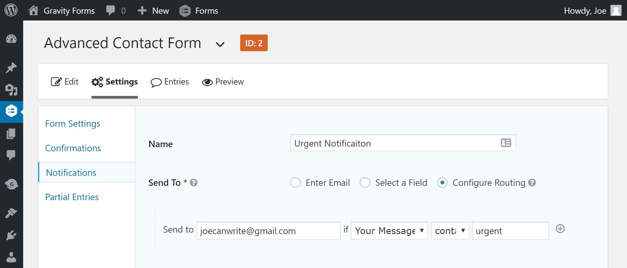 Configuración de notificaciones de entrada de formulario