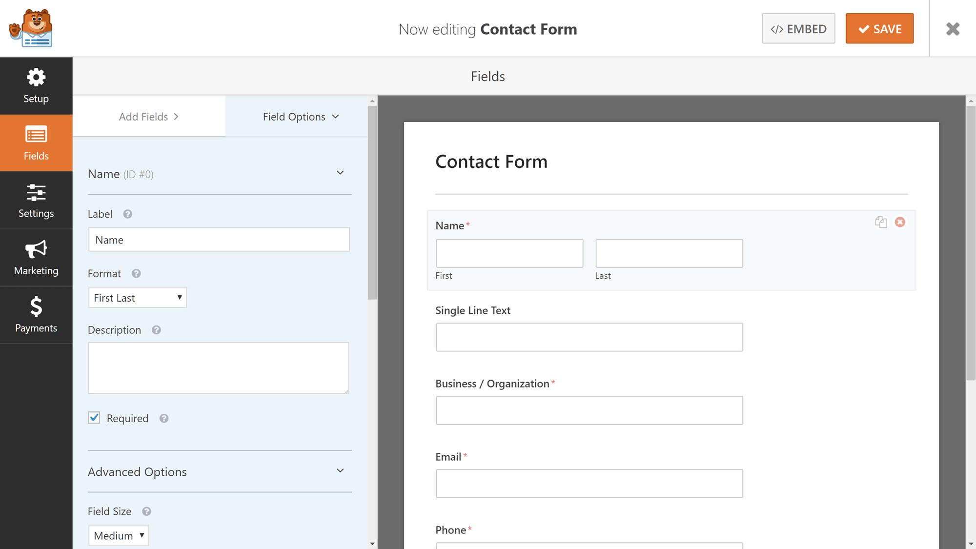 Configuración de opciones de campo de WPForms