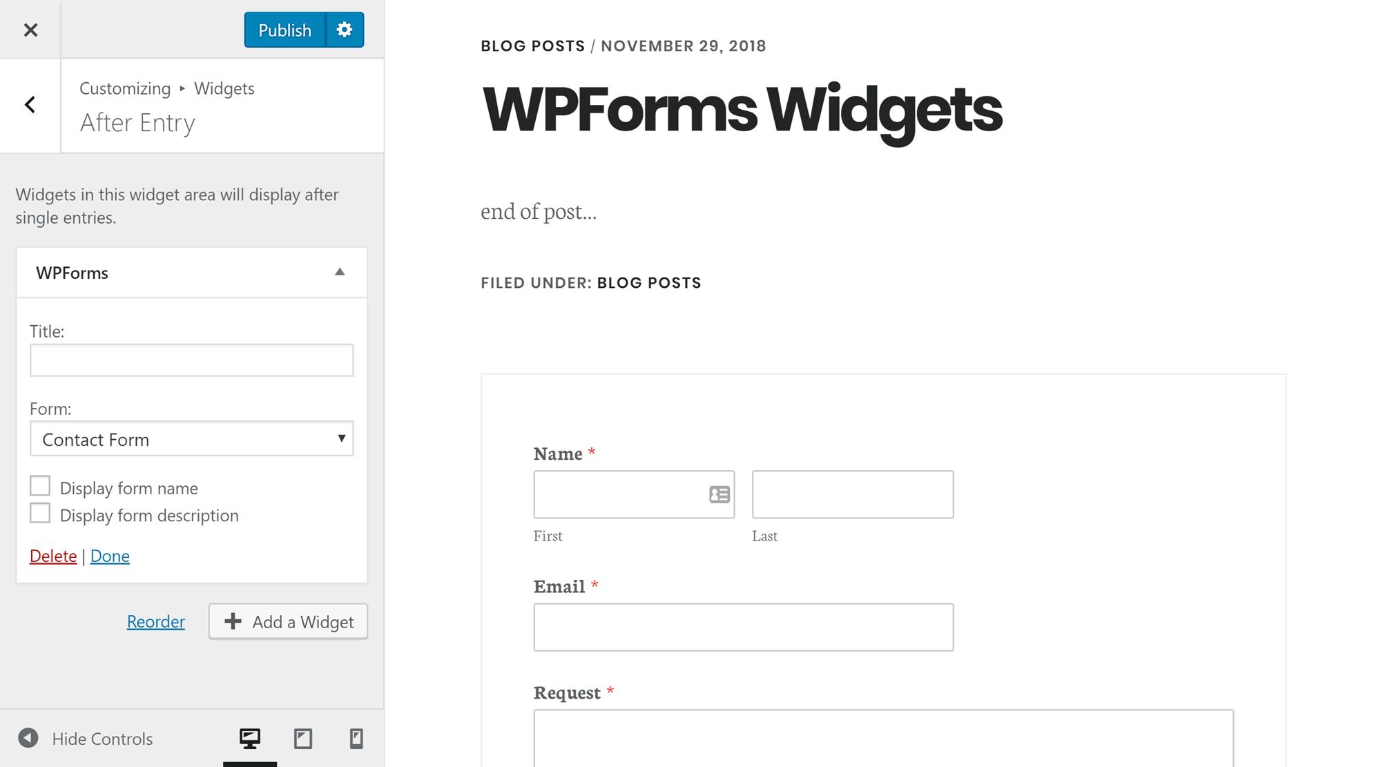 WPForms Sidebar Widget