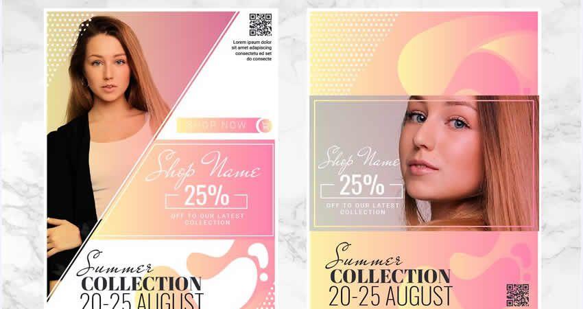 Módna kolekcia Vector Flyer Template Illustrator EPS AI SVG
