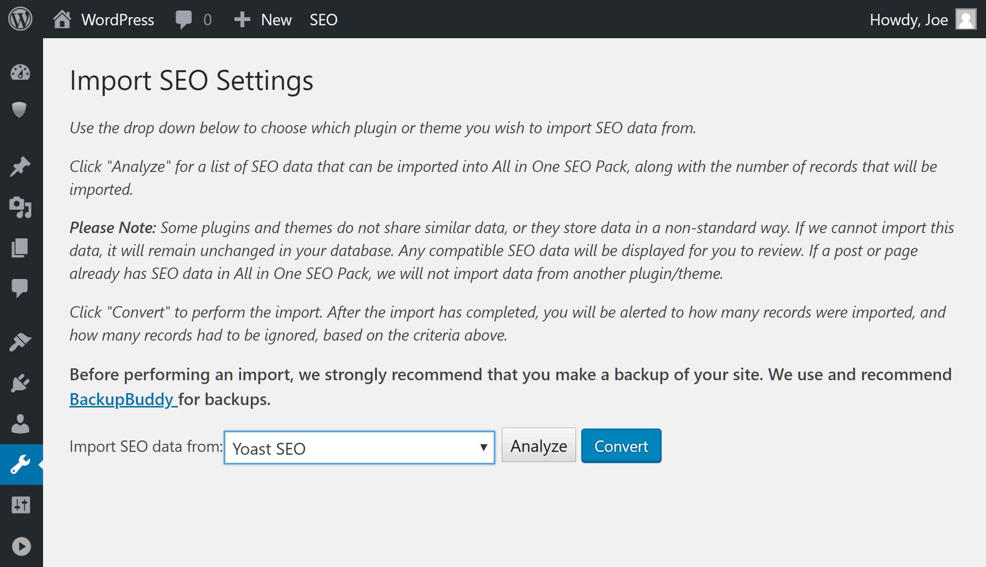 SEO plugin parametrlərini idxal edin