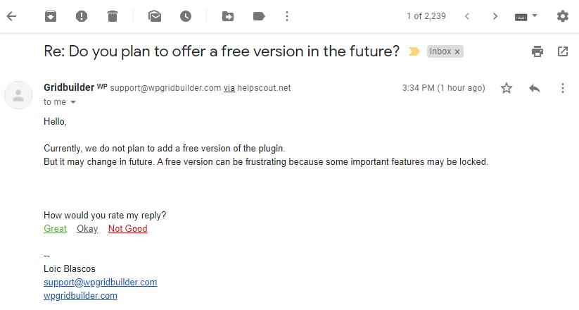 correo electrónico de soporte de wp grid builder