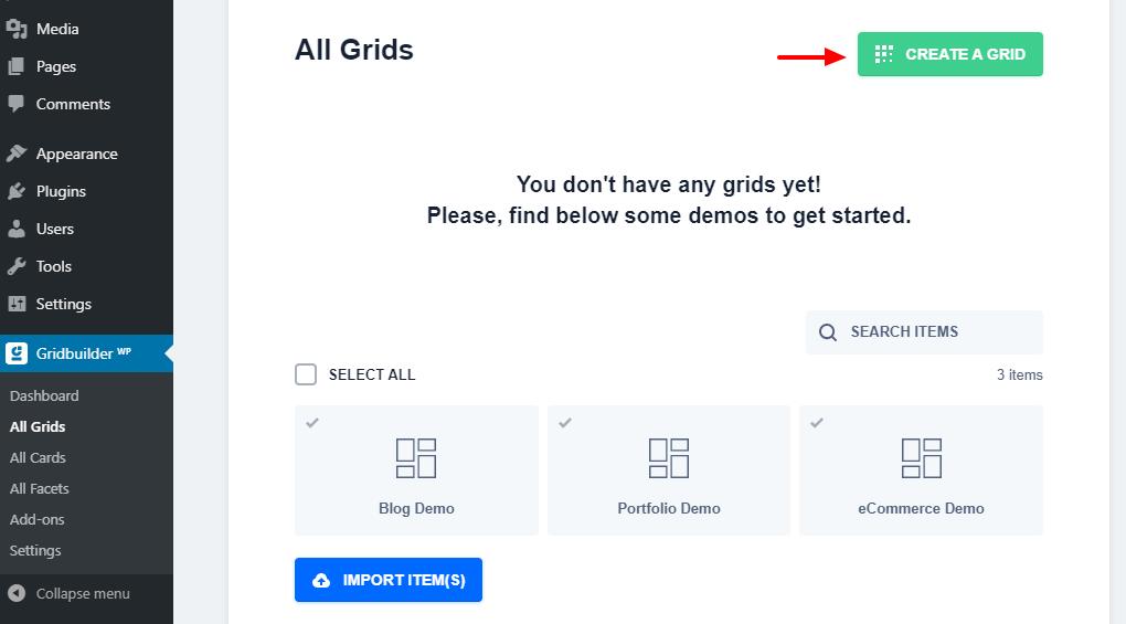 yeni bir grid yaradın