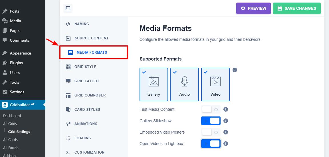 Gridbuilder media formatları