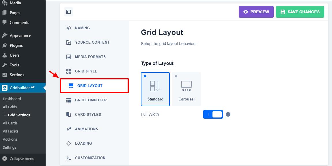 wp grid qurucusu grid layout