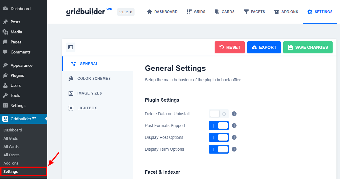 configuración global de gridbuilder wp