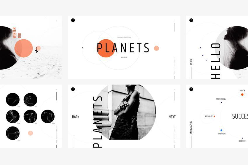 Planetlər - pulsuz açar təqdimat şablonu