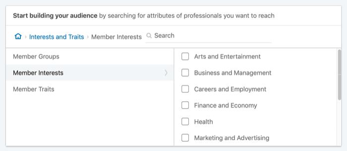 üzv maraqları ilə LinkedIn reklamlarını hədəfləyin