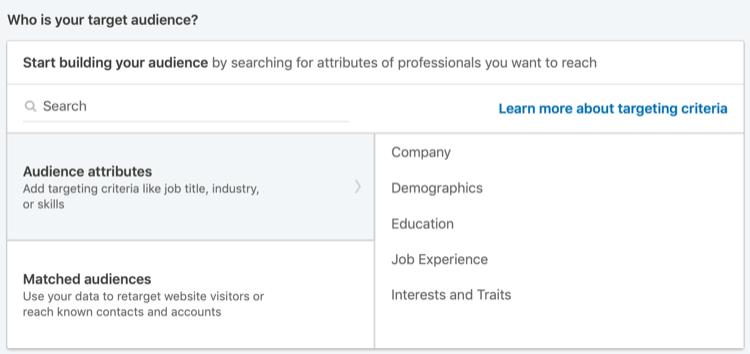 LinkedIn reklamları üçün tamaşaçı atributları