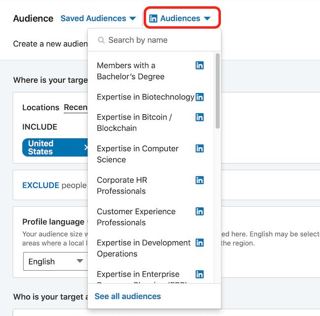 LinkedIn tamaşaçı şablonları açılan menyu