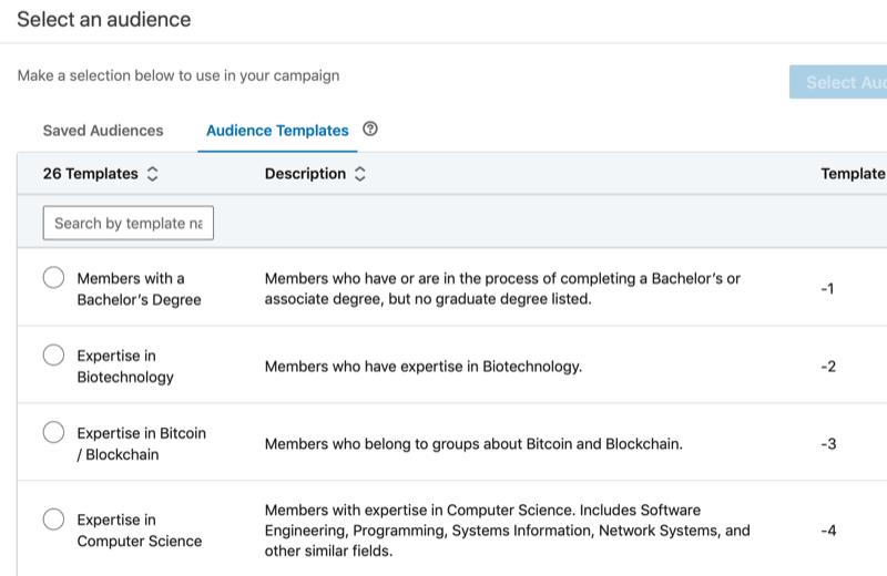 təsvirləri ilə birlikdə LinkedIn tamaşaçı şablonlarının tam siyahısı