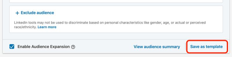 LinkedIn reklamları üçün şablon seçimi olaraq qeyd edin