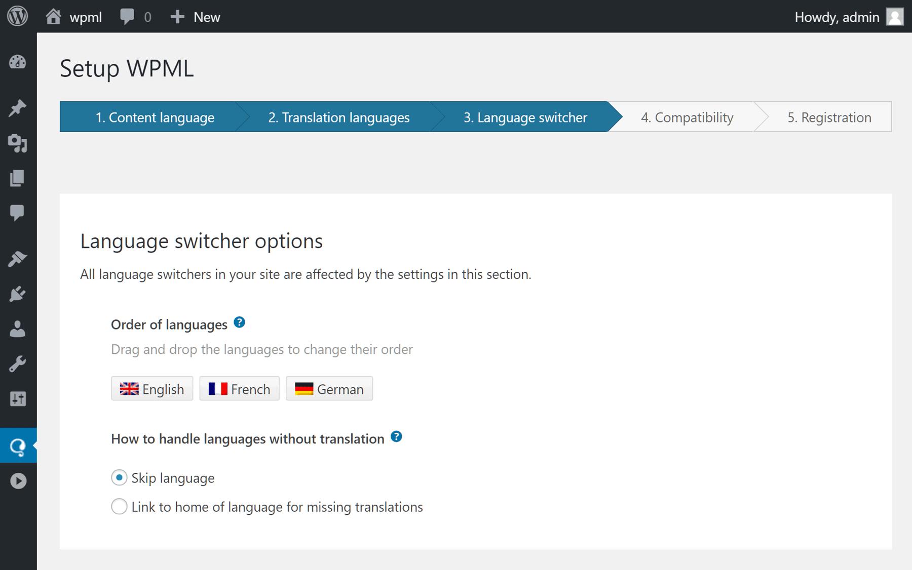 Innstillinger for språk på nettstedet