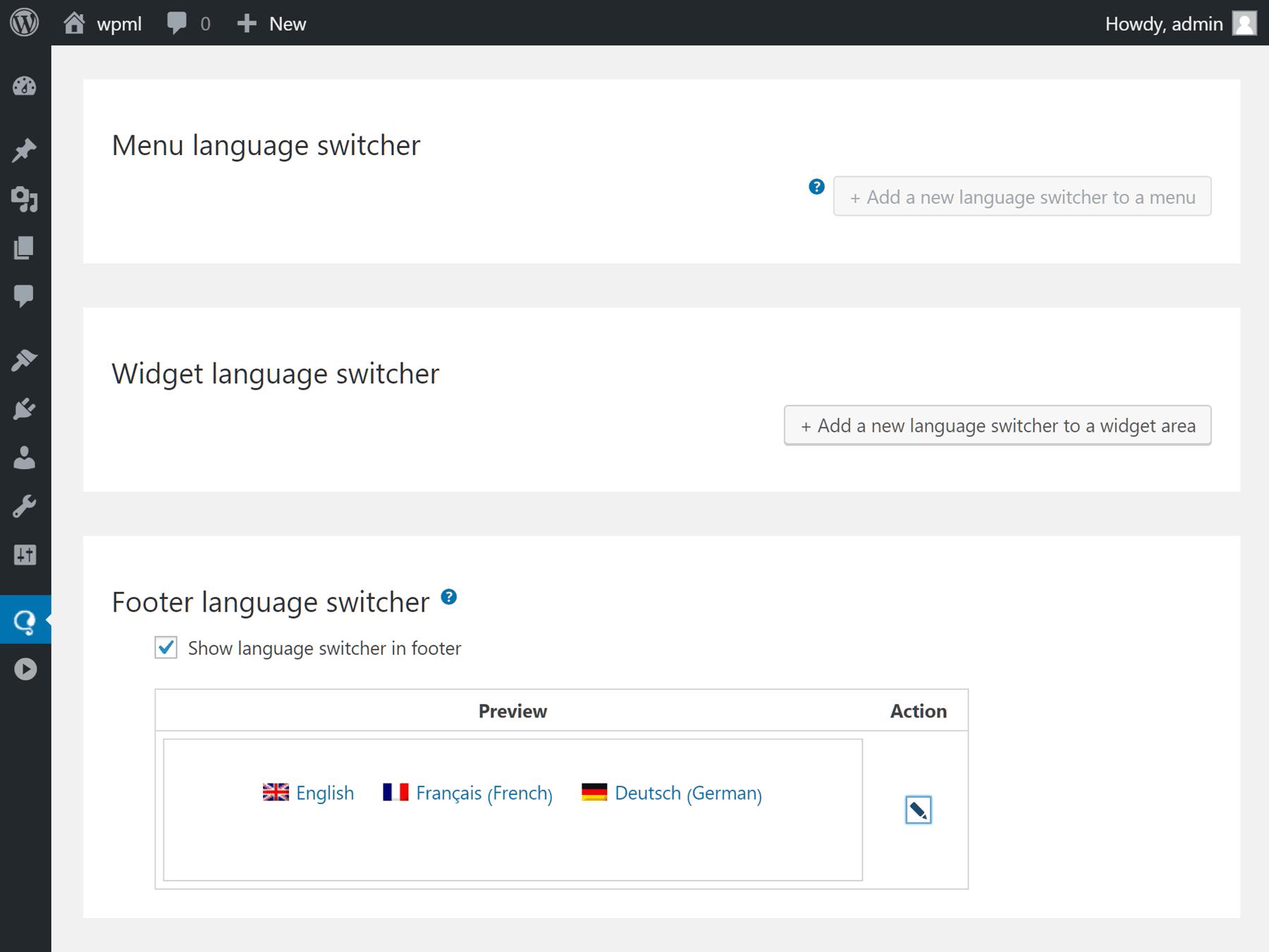 Konfigurácia prepínača jazyka WPML
