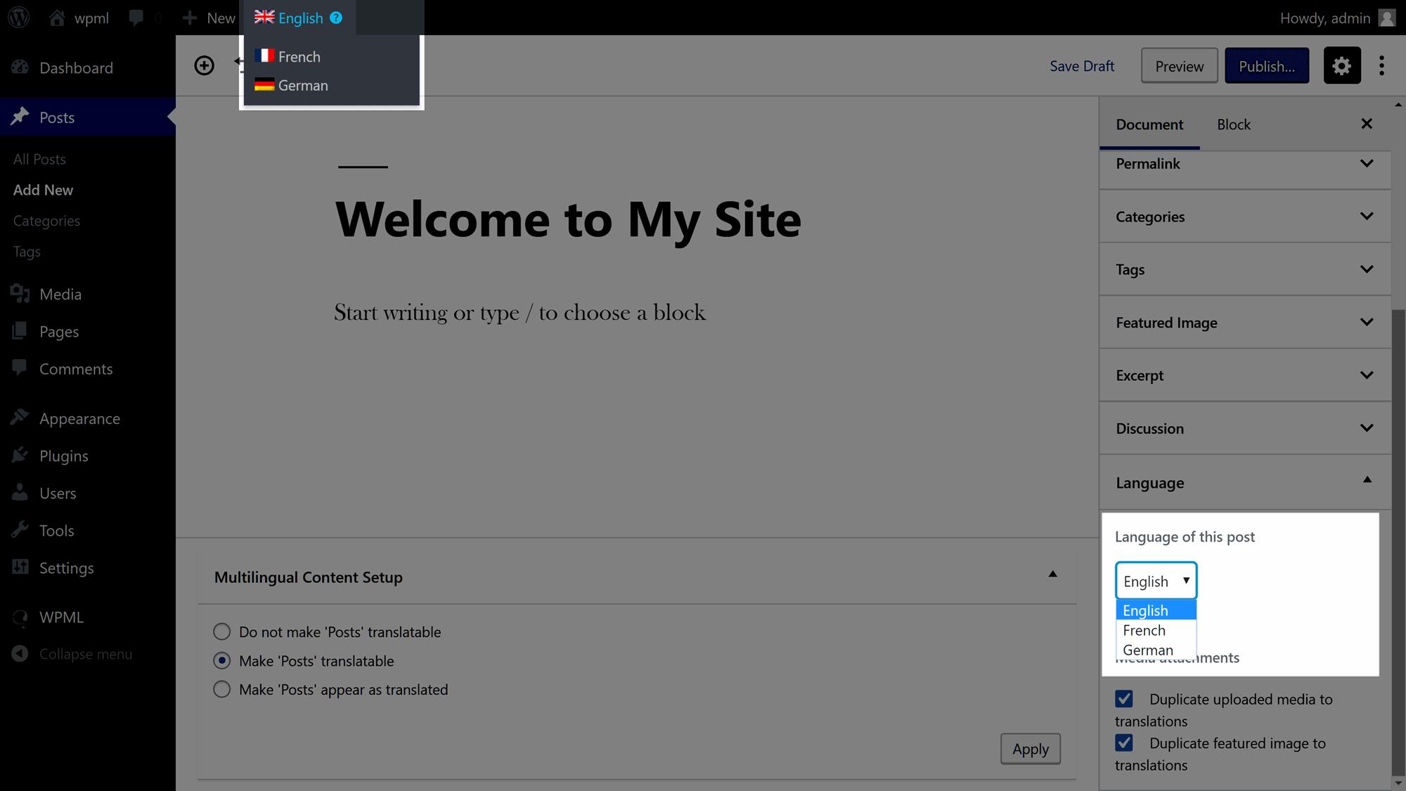 Ovládacie prvky editora jazyka WordPress